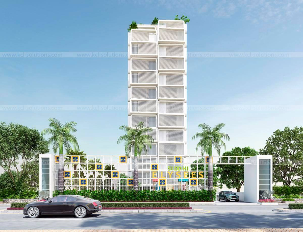Architectural Township Exterior Design Rendering